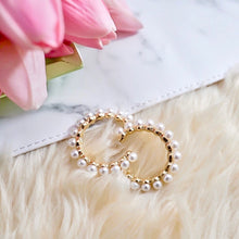 Load image into Gallery viewer, THE AMIDALA GOLD PEARL HOOPS