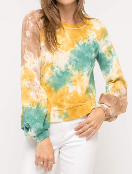 Tie Dye Terry Pullover (Green/Yellow)
