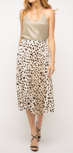 Silky Leopard Printed Skirt