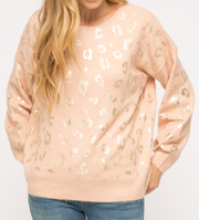 Shiny Leopard Print Sweater