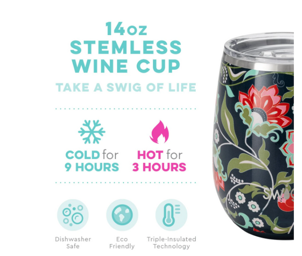 Insulated Stemless Wine Cup (Lotus Blossom)