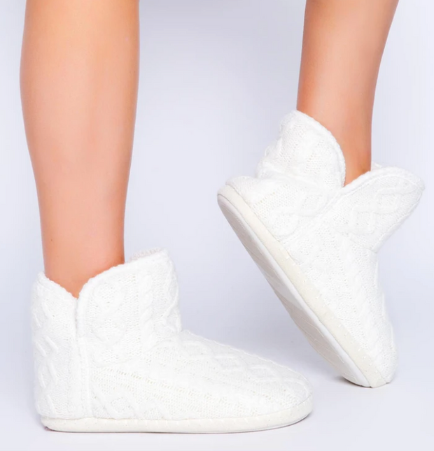 Cable Knit Bootie Slippers (Ivory)