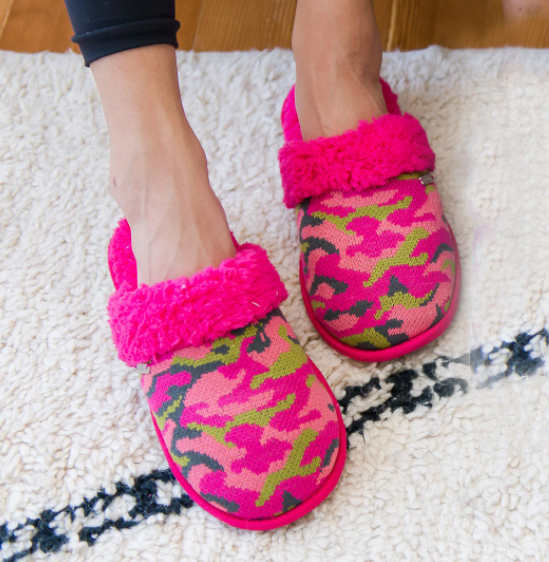 Pink Camo Slippers