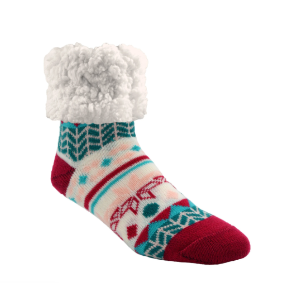 Geometric Raspberry Slipper Socks