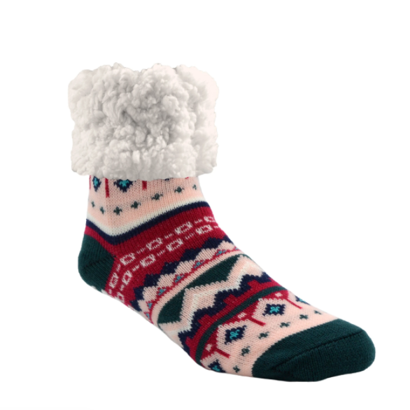 Nordic Raspberry Slipper Socks