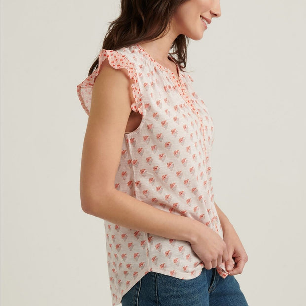 Floral Woodblock Printed Pintuck Blouse