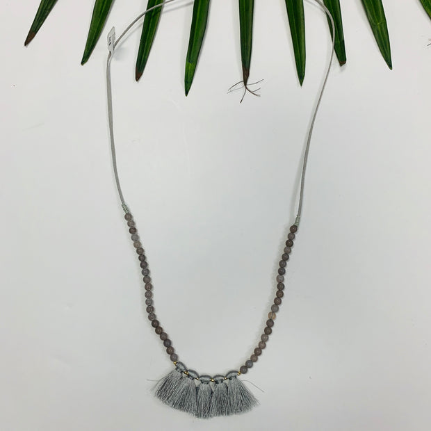 Matte Beaded Tassel Necklace