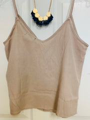 Spaghetti Strap Crop Tank (Light Taupe)