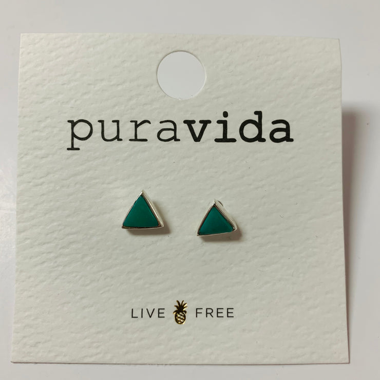 Gemstone Triangle Stud Earrings (Silver)
