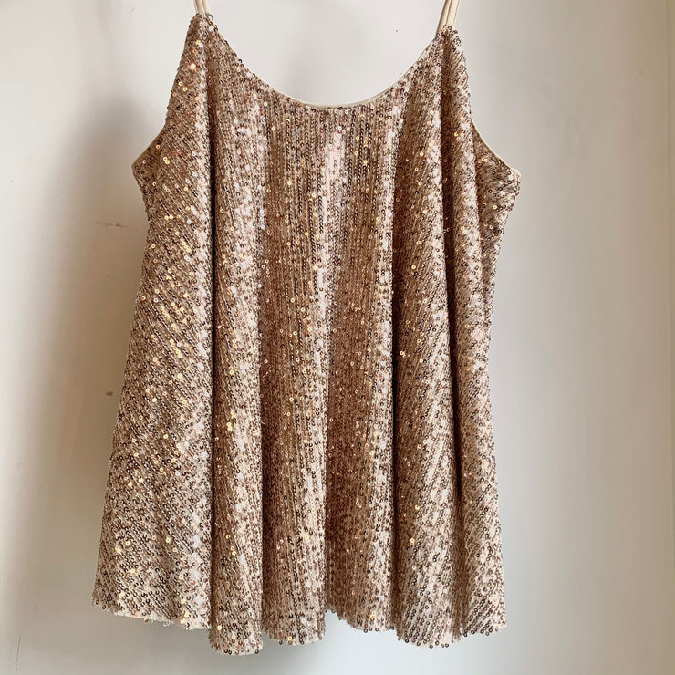 Sequin Flowy Cami (Rose Gold)