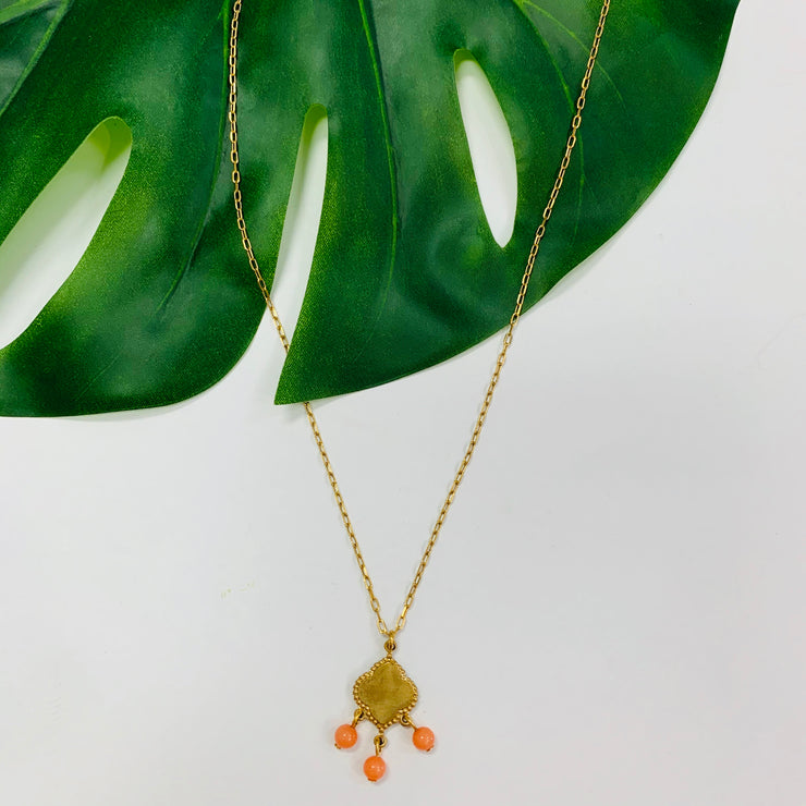 Tiny Gemstone Pendant Necklace (Orange)