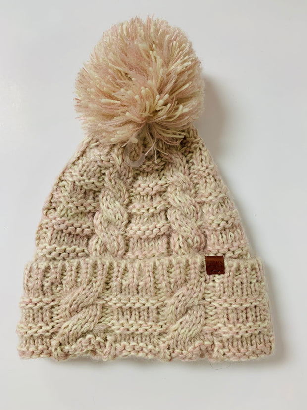 Twisted Pom Beanie (Light Pink)