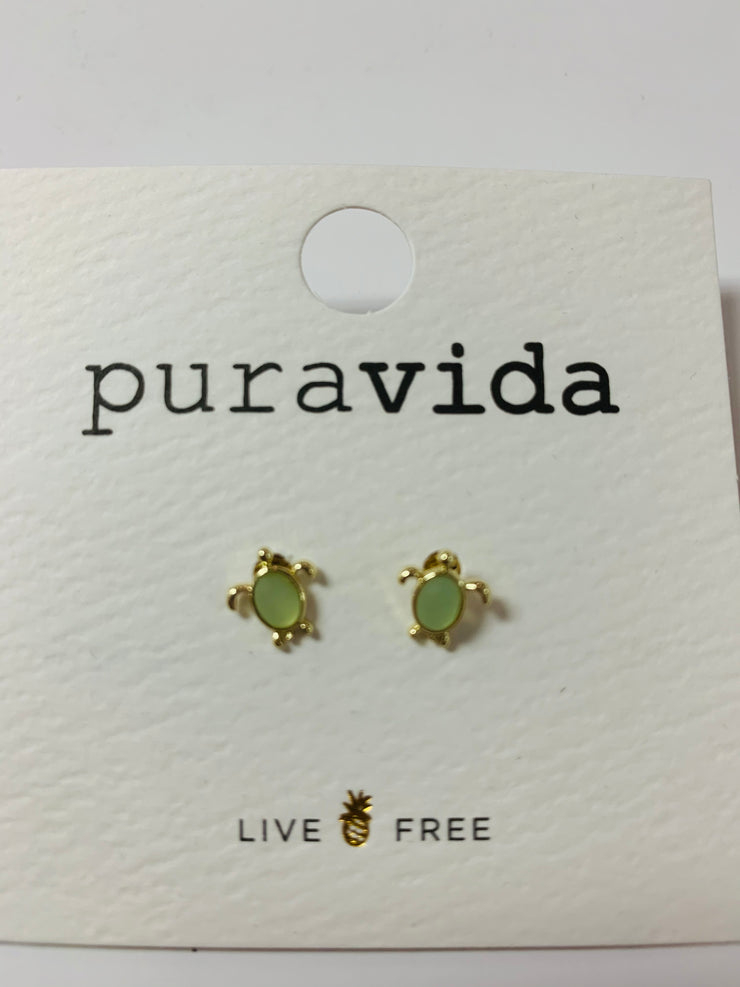Sea Turtle Stud Earrings (Gold)
