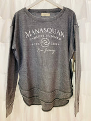 Manasquan Burnout Round Hem Crew Neck (Steel Grey)