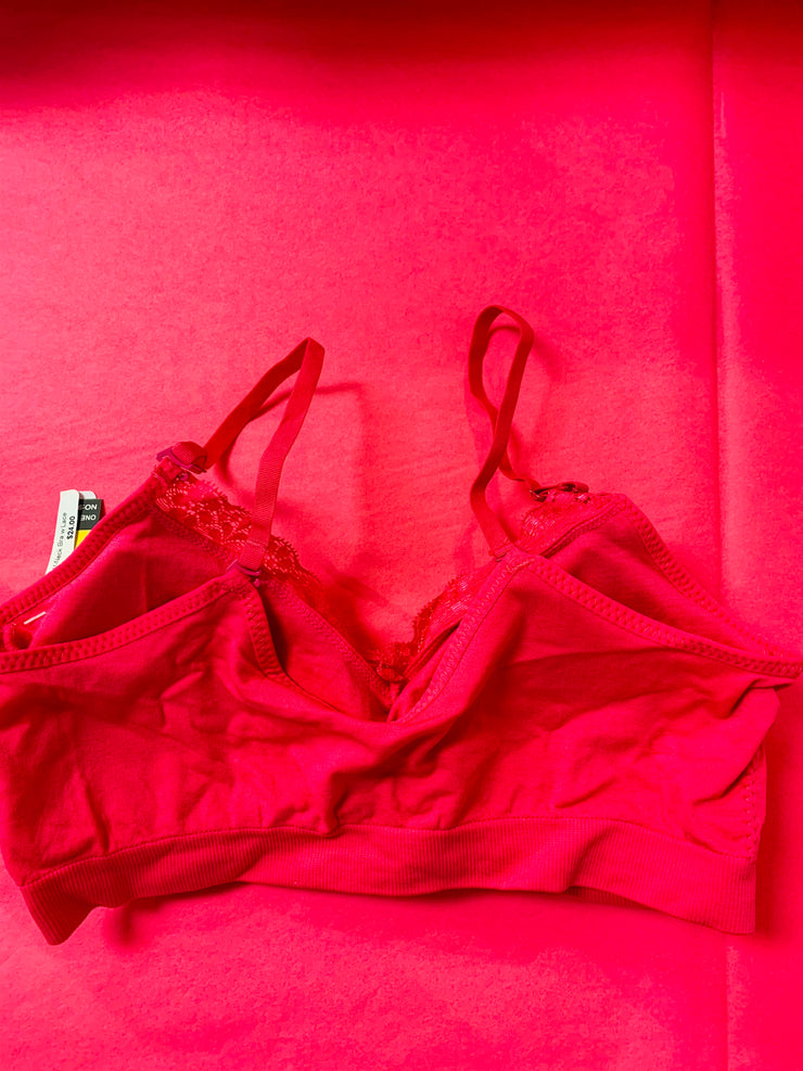 Seamless Bra With Lace (Hot Pink)