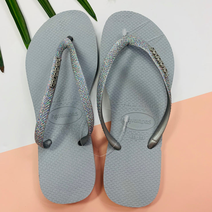 Slim Glitter Sandal (Ice Grey)