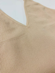 Ribbed V-Neck Brami (Latte)