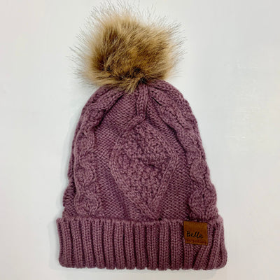 Wide Brim Knit Hat with Pom
