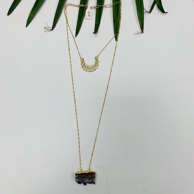 Double Layer Rock Cut Out Necklace