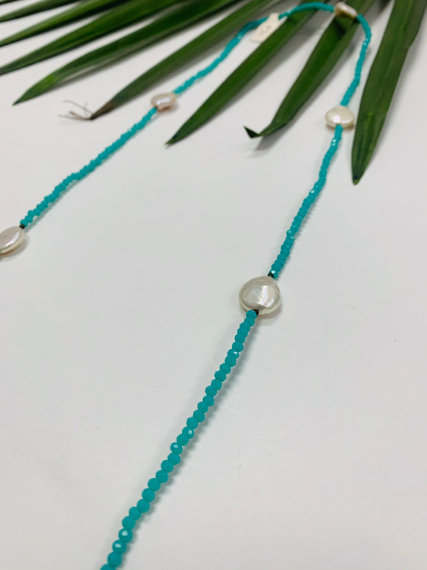 Turquoise Sparkle Pearl Necklace