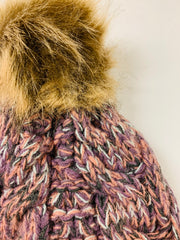 Fleece Lined Knit Pom Hat (Purple/Pink/Grey)