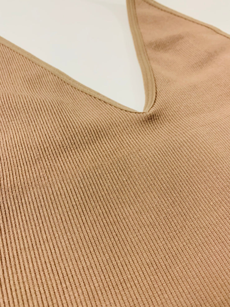 Ribbed V-Neck Brami (Dark Taupe)