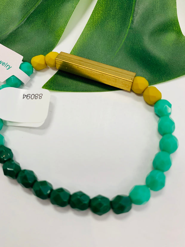 Brass & Bead Stretch Bracelet (Greens)