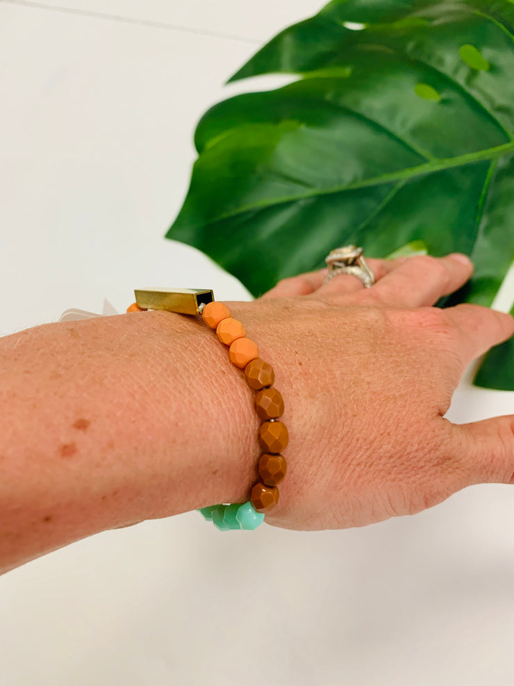 Brass & Bead Stretch Bracelet (Burnt Orange)