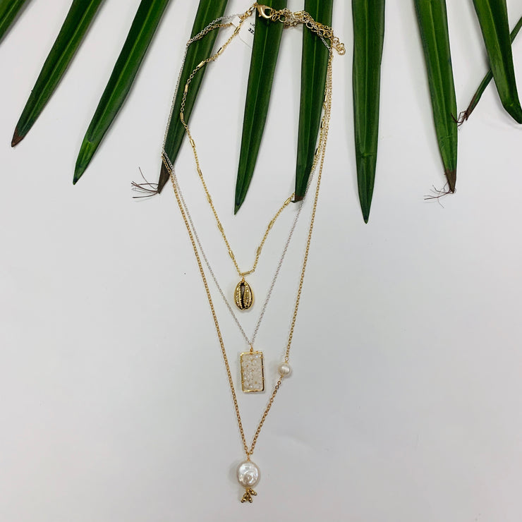 Triple Layer Puka Necklace