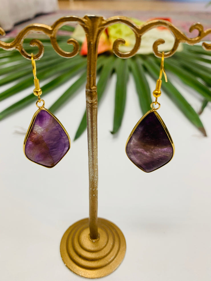 Purple Stone Drop Earrings