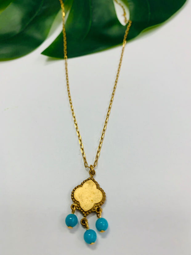 Tiny Gemstone Pendant Necklace (Turquoise)