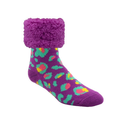 Purple Leopard Slipper Socks