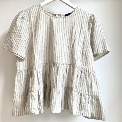 Cropped/Striped Babydoll Top