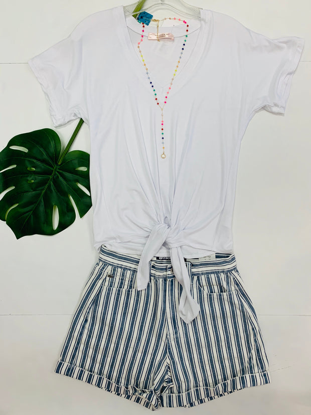 Striped Denim Cuff Shorts