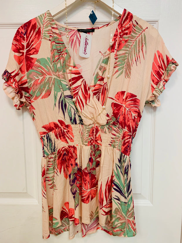 Smocked Waist Palm Tree Blouse