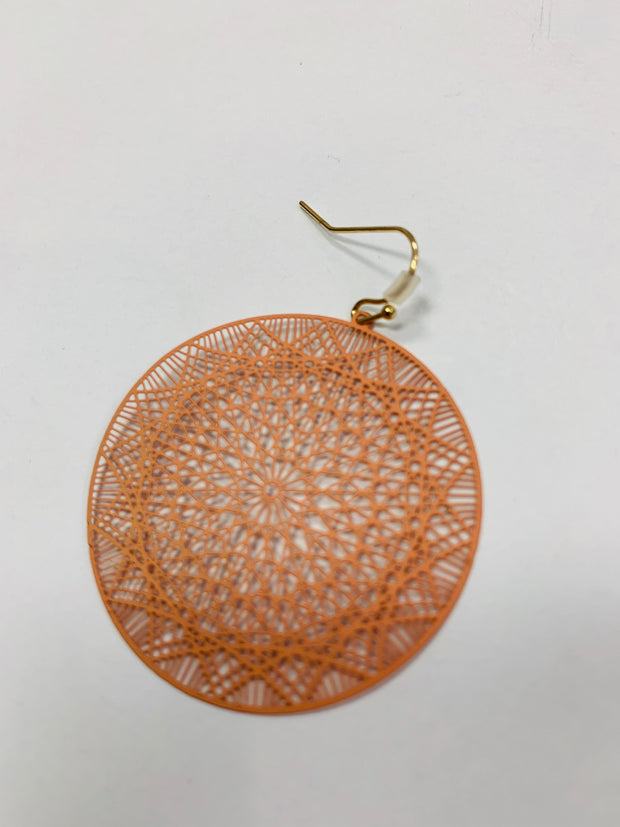 Enamel Laser Etched Earring (Light Pink)