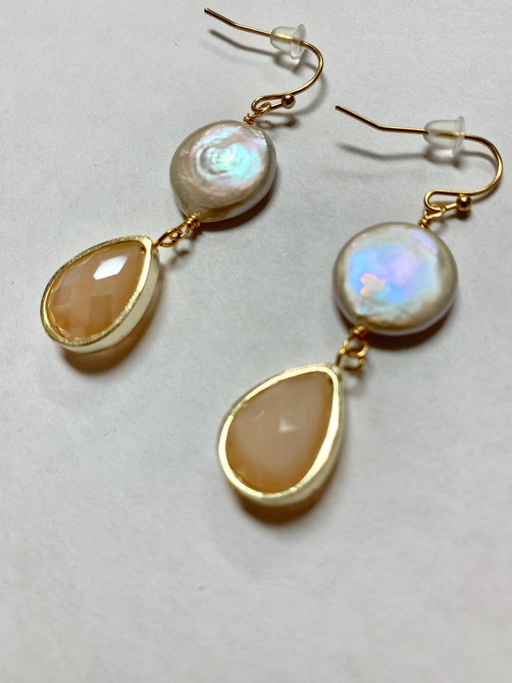 Coin Pearl Drop Earring