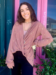 Crossover Gold Sparkle Blouse (Mauve)