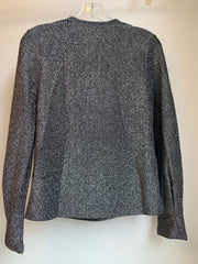 Cowl Neck Sparkle Blouse (Silver/Black)