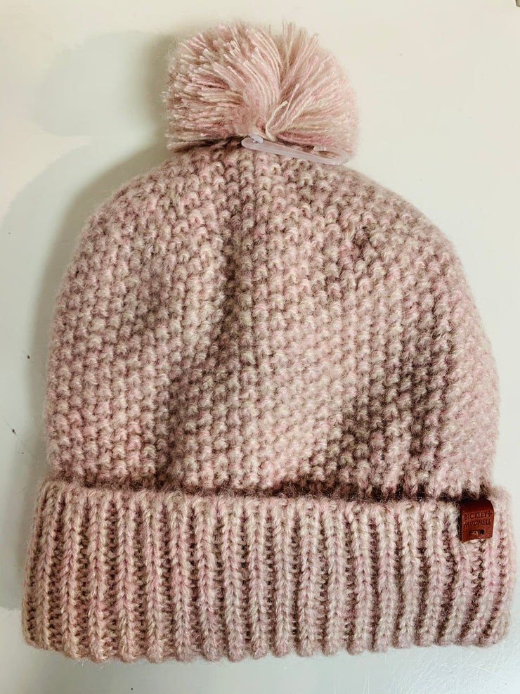 Lined Pom Beanie (Light Pink)