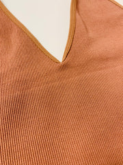 Ribbed V-Neck Brami (Cocoa)