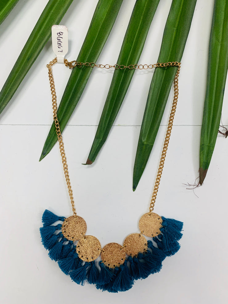 Gold Shimmer Necklace with Tassels