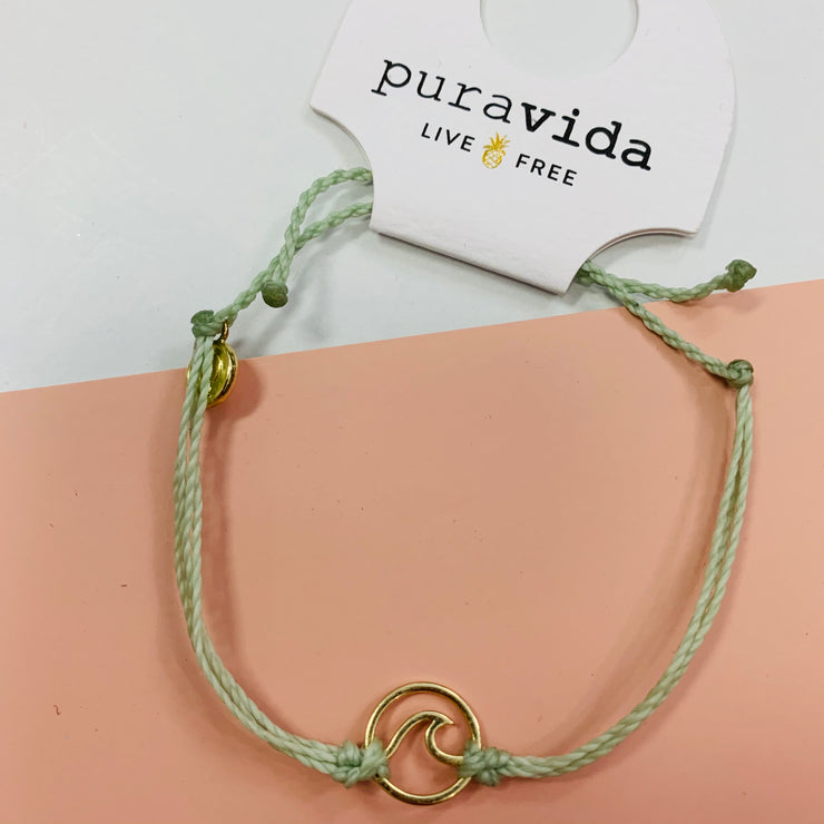 Gold Mint Wave Bracelet