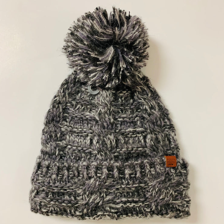 Twisted Pom Beanie (Dark Grey)