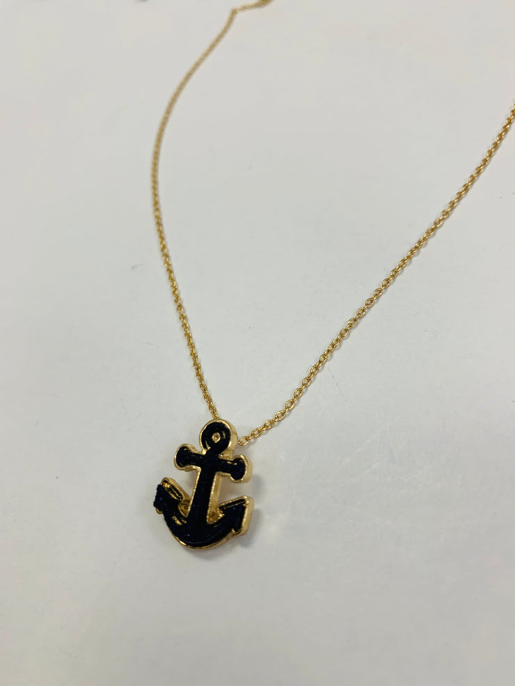 Delicate Navy Anchor Necklace