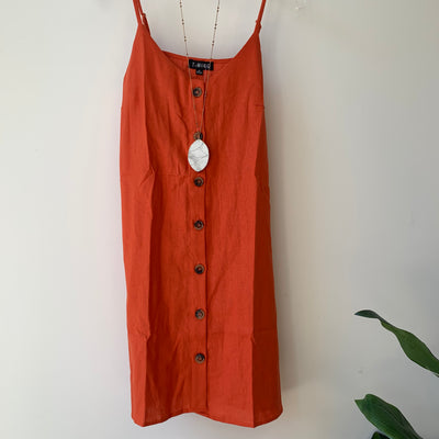 Linen Spaghetti Strap Dress
