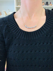 Delicate Pearl Necklace (Grey)