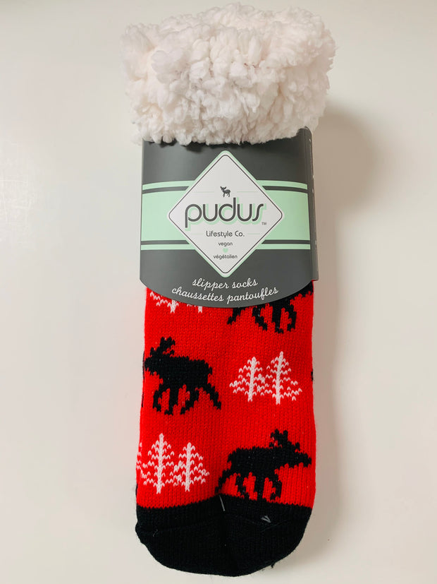 Moose Slipper Socks (Grey)