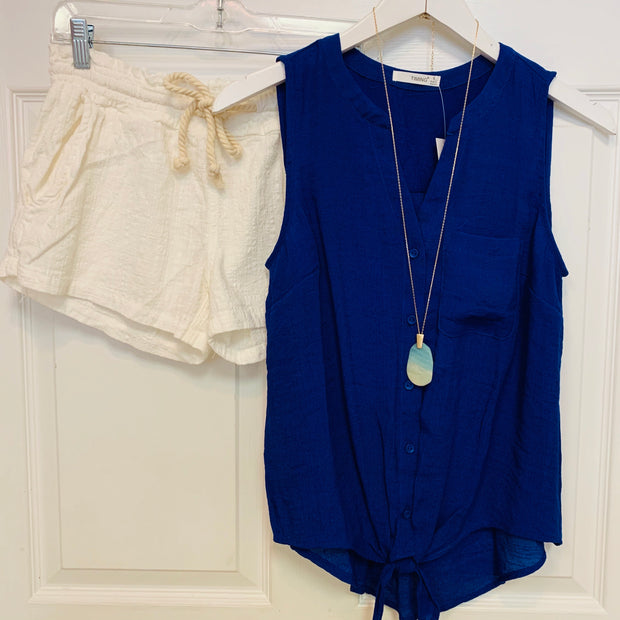 Sleeveless Tie Front Blouse (Royal Blue)