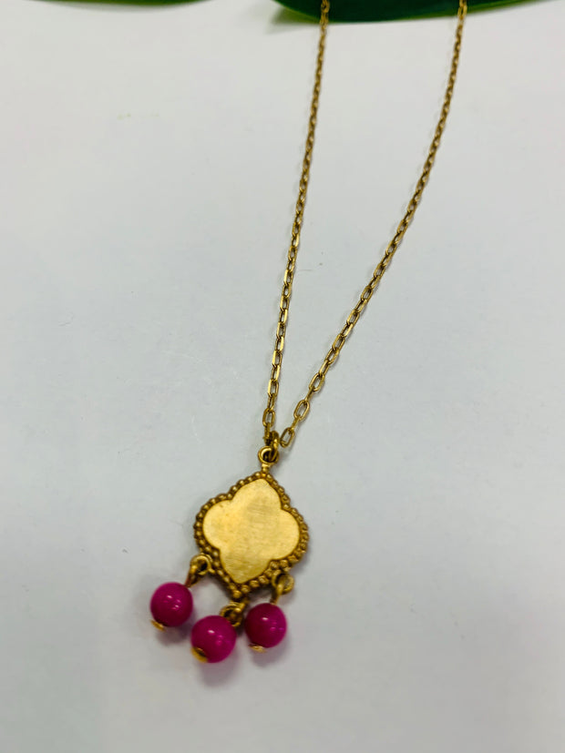 Tiny Gemstone Pendant Necklace (Magenta)